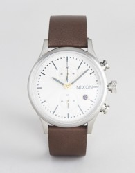 Nixon A1163 Station Chronograph Leather Watch In Brown - Brown