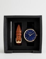 Nixon A1230 Arrow Leather Interchangeable Strap Watch Gift Set - Black