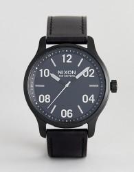 Nixon A1242 Patrol Leather Watch In Black 44mm - Black