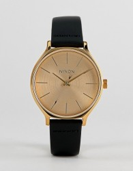 Nixon A1250 Clique Leather Watch In Black 38mm - Black