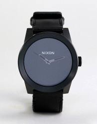 Nixon A243 Corporal Leather Watch In Black - Black