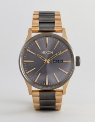 Nixon A356 Sentry SS Bracelet Watch In Mixed Metal - Gold