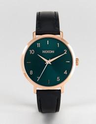 Nixon Arrow Leather Watch In Black - Black
