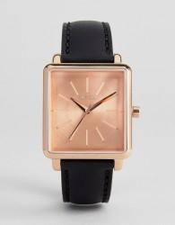 Nixon K Squared Leather Watch In Black - Black