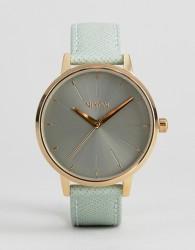 Nixon Kensington Leather Watch In Green - Green