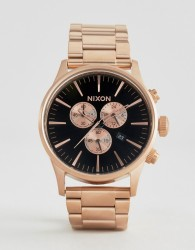 Nixon Sentry Chronograph Watch In Rose Gold - Gold