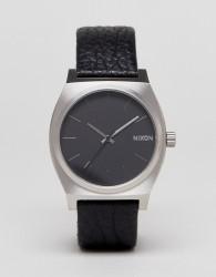Nixon Sentry Leather Watch In Black - Black