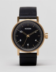 Nixon Stark Leather Watch In Black/Gold - Black