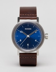 Nixon Stark Leather Watch In Brown - Brown
