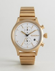 Nixon Station Chronograph Bracelet Watch In Gold - Gold