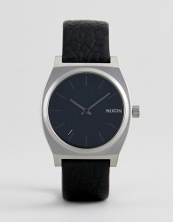 Nixon Time Teller Leather Watch In Black - Black