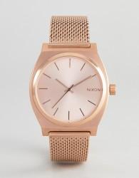 Nixon Time Teller Luxe Rose Gold Mesh Watch - Gold