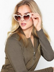 NLY Accessories Heart Cat Eye Sunglasses Solbriller Creme