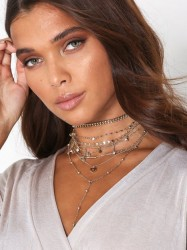 NLY Accessories Layered Charm Chokers Halskæde Guld