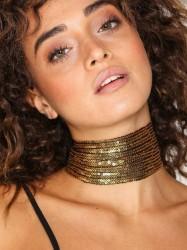 NLY Accessories Thick Sequin Choker Halskæde Guld