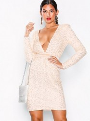 NLY Eve Open Back Lace Draped Dress Pailletkjoler Champagne