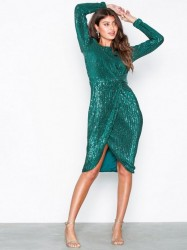 NLY Eve Padded Pleated Sequin Dress Pailletkjoler Grøn