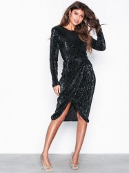 NLY Eve Padded Pleated Sequin Dress Pailletkjoler Sort