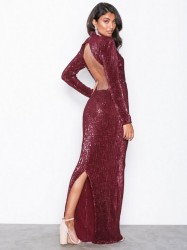 NLY Eve Power Up Sequin Gown Pailletkjoler Burgundy