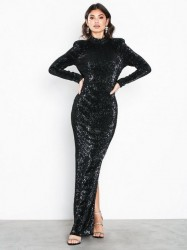 NLY Eve Power Up Sequin Gown Pailletkjoler Sort
