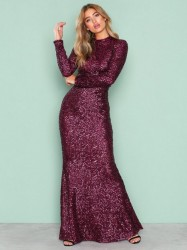 NLY Eve Sequin Polo Gown Pailletkjoler Burgundy