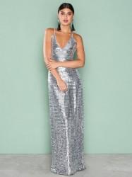 NLY Eve Slip In Sequin Gown Pailletkjoler Sølv