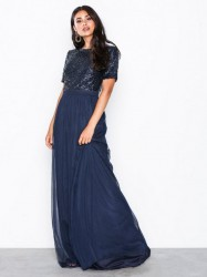 NLY Eve Sprinkle Short Sleeve Gown Pailletkjoler Marine