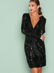 NLY One Luxe Glitter Dress Pailletkjoler Sort
