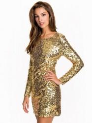 NLY One Scoop Back Sequin Dress Pailletkjoler Guld