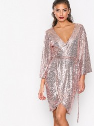 NLY One Sequin Wrap Dress Pailletkjoler Rose