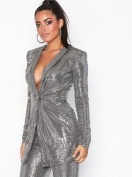 NLY One Sparkle Blazer Dress Pailletkjoler Sølv