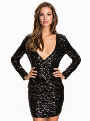 NLY One Wrap Sequin Dress Pailletkjoler Sort