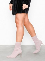 NLY Shoes Flirty Sock Boot Heel Glitter Pink