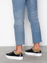 NLY Shoes Fuzz Ankle Sneaker Low Top Sort