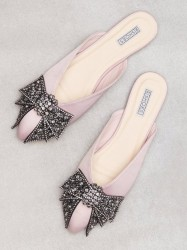 NLY Shoes Pointy Bow Sandal Loafers Dusty Pink