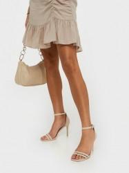 NLY Shoes Round Buckle Heel Sandal High Heel Beige