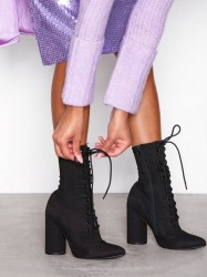 NLY Shoes Stretchy Lace Up Boot Heel Sort