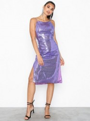 NLY Trend Chain Mail Sequin Dress Pailletkjoler Lilla
