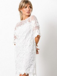 NLY Trend Crochet Loose Dress Loose fit Hvid