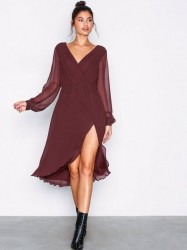 NLY Trend Sheer Wrap Dress Loose fit Burgundy