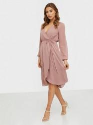 NLY Trend Wrapped Midi Dress Skater kjoler Dusty Rose