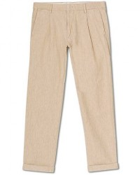 NN07 Codo Linen/Cotton Pleated Turn Up Trousers Nature men W33L32 Beige