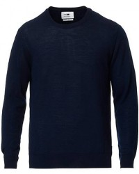 NN07 Ted Extra Fine Merino Crew Neck Pullover Navy Blue men XL Blå