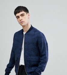 Noak Bomber With Print In Navy - Blue