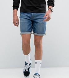 NOAK Denim Shorts In Slim Mid Blue - Blue