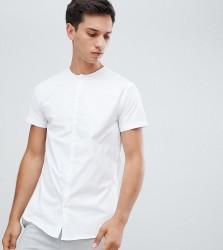 Noak skinny collarless shirt - White