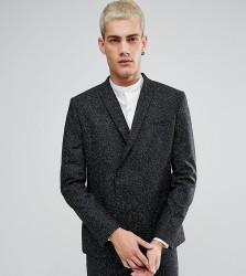 Noak Skinny Double Breasted Suit Jacket in Fleck - Black