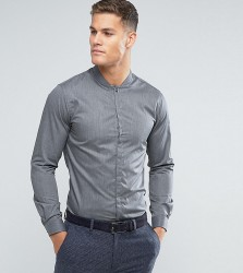 Noak Skinny Shirt With Mandarin Collar - Grey