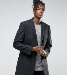 Noak Skinny Smart Overcoat in Dogstooth - Grey