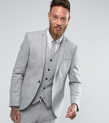 Noak Skinny Suit Jacket in Fleck Donegal - Grey